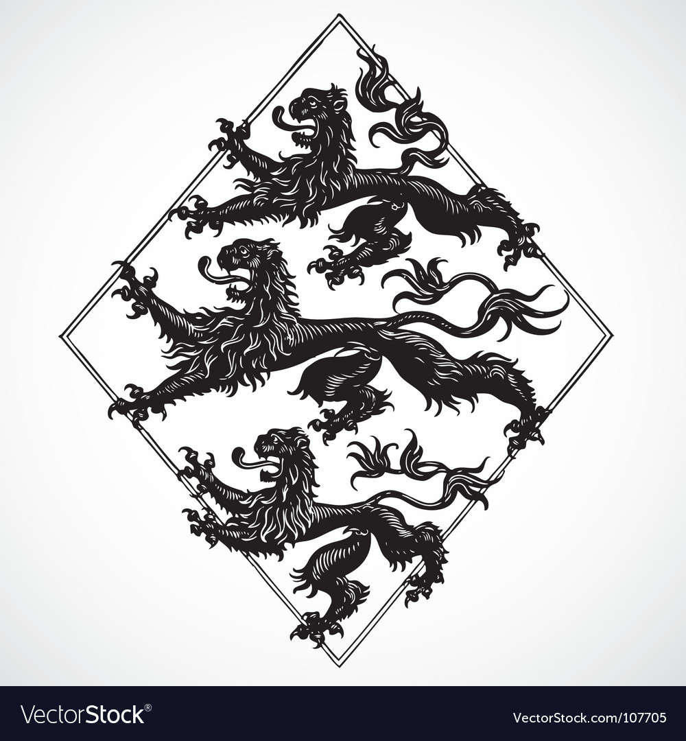 Three lions ornament vector | Price: 1 Credit (USD $1)