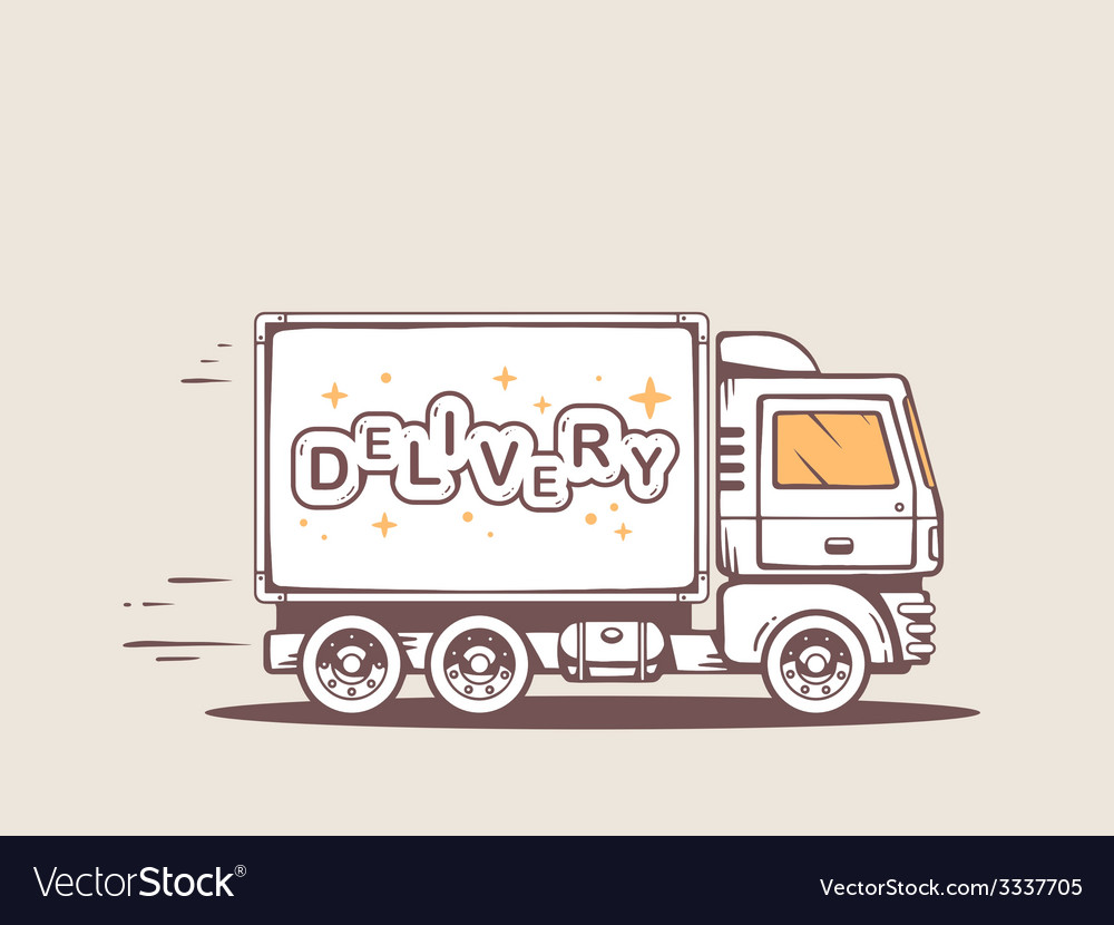 Truck free and fast delivering lettering vector | Price: 1 Credit (USD $1)