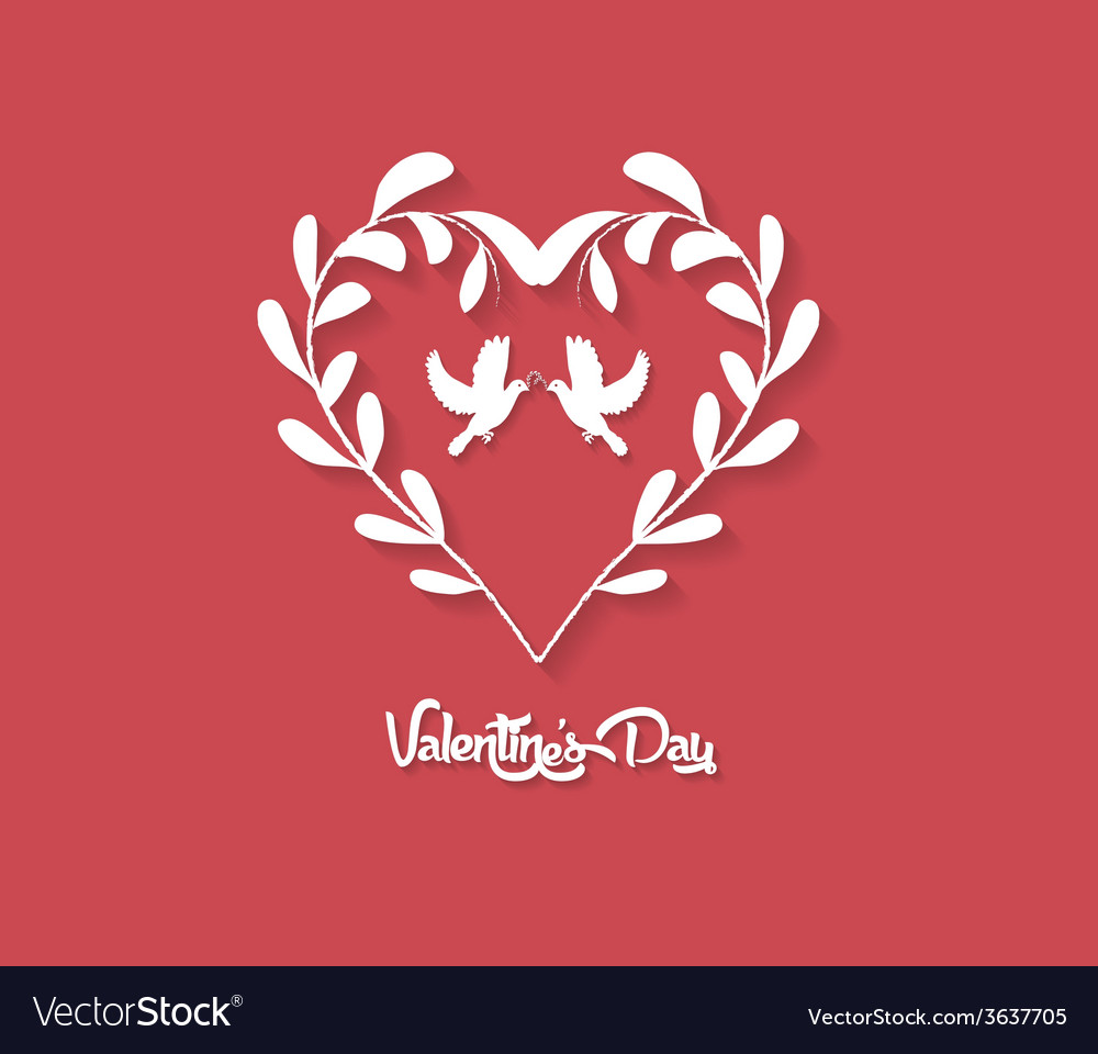 Valentines day floral heart on red background vector | Price: 1 Credit (USD $1)