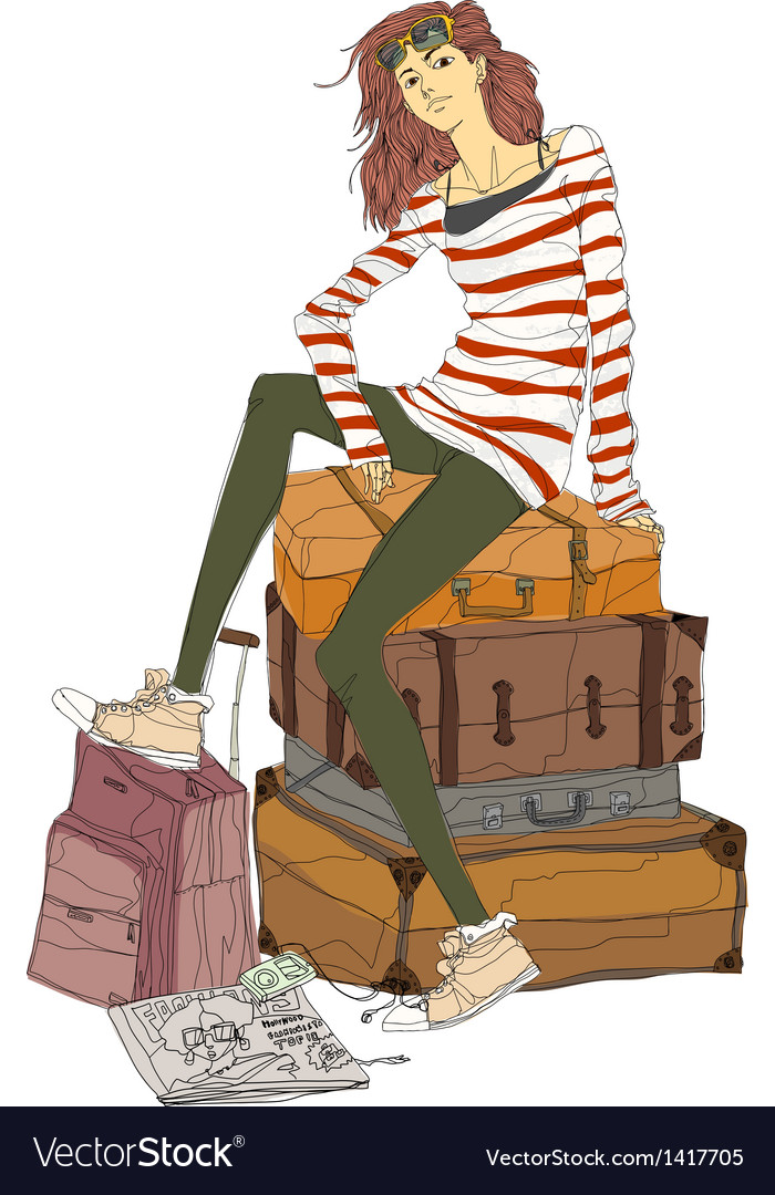 Woman travellers sitting vector   Price: 1 Credit (USD $1)