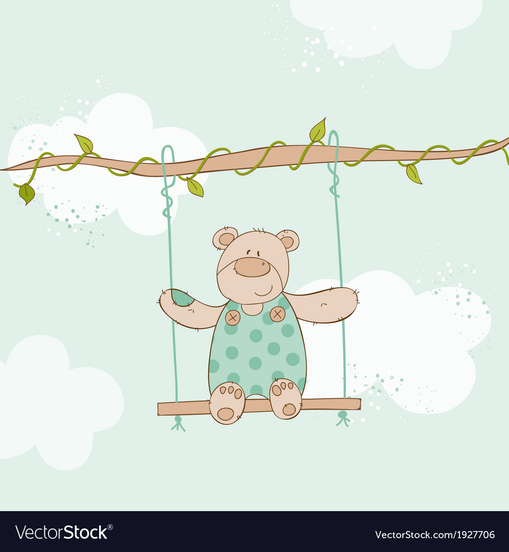 Baby shower card - with baby bear vector | Price: 1 Credit (USD $1)