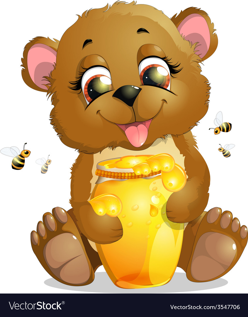 Bear eats honey vector | Price: 3 Credit (USD $3)