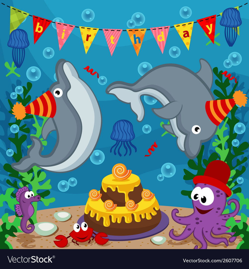 Birthday marine animals vector | Price: 3 Credit (USD $3)