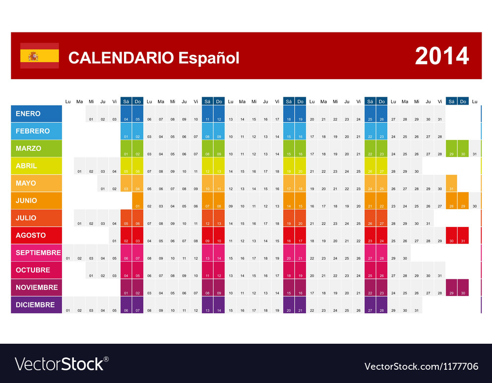 Calendar 2014 spain type 14 vector | Price: 1 Credit (USD $1)