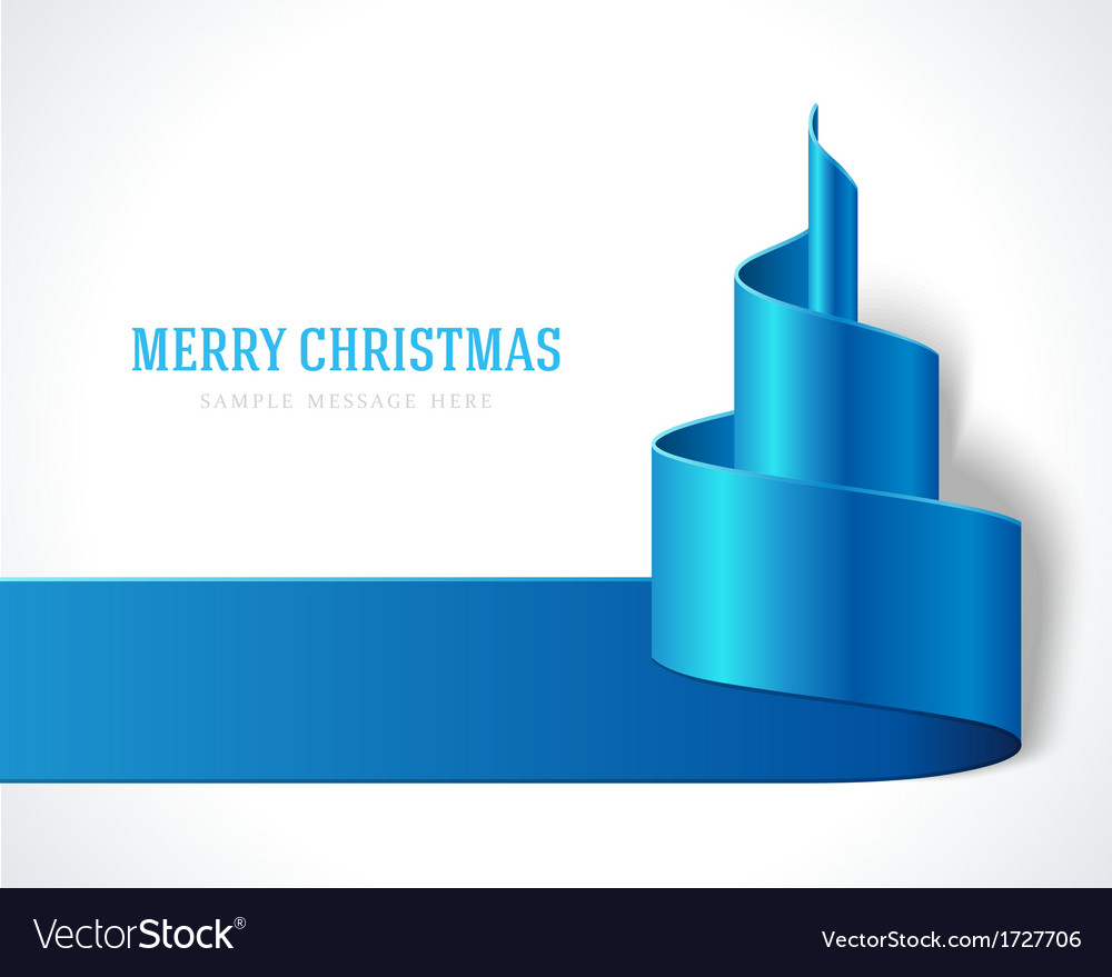 Christmas blue tree from ribbon background vector | Price: 1 Credit (USD $1)