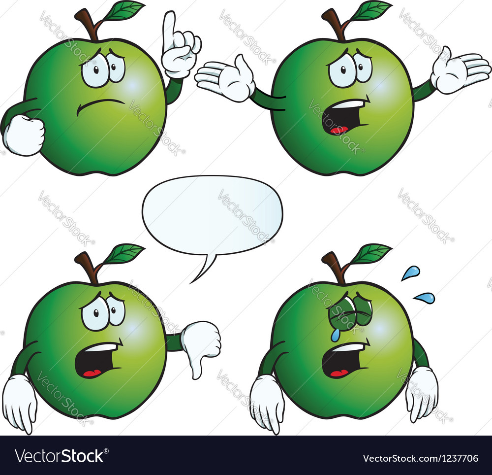 Crying apple set vector | Price: 1 Credit (USD $1)