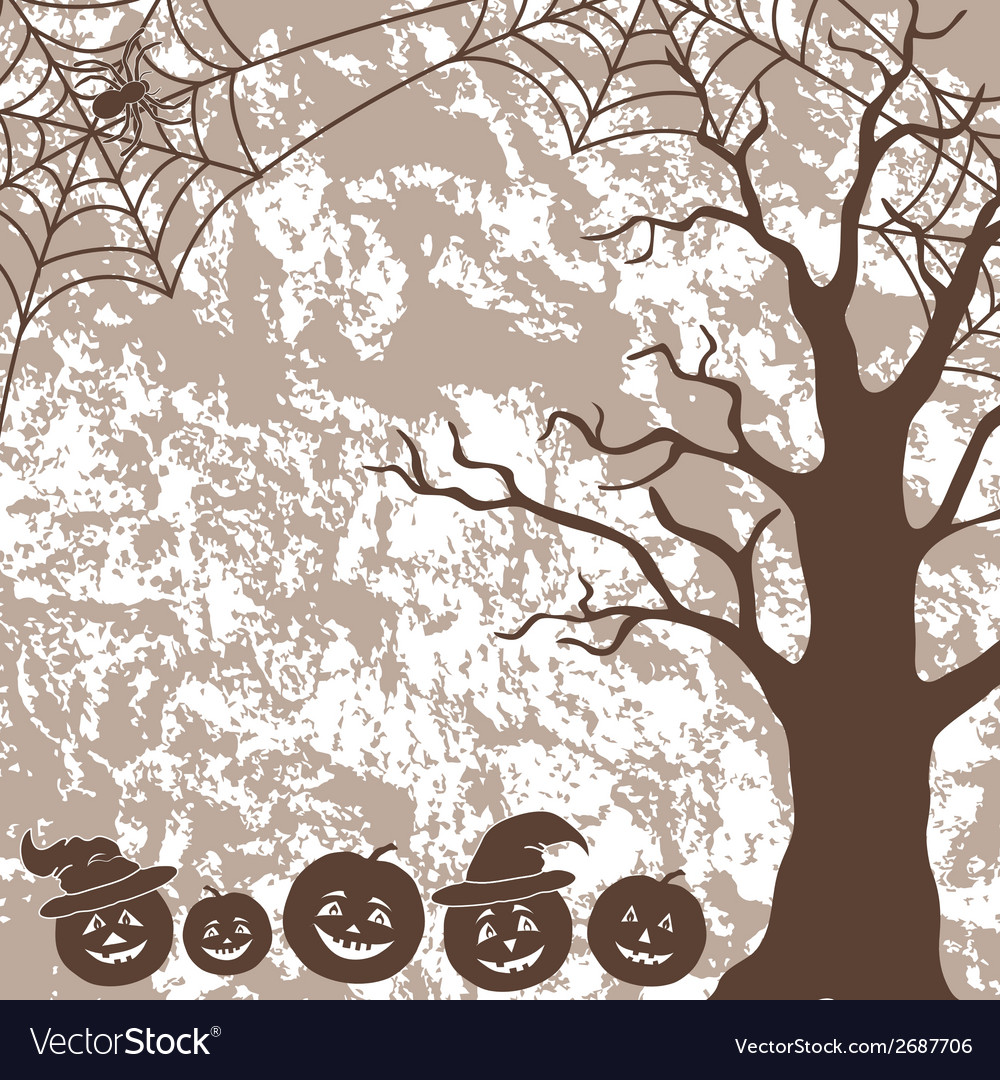 Halloween landscape pumpkins tree and spider vector | Price: 1 Credit (USD $1)