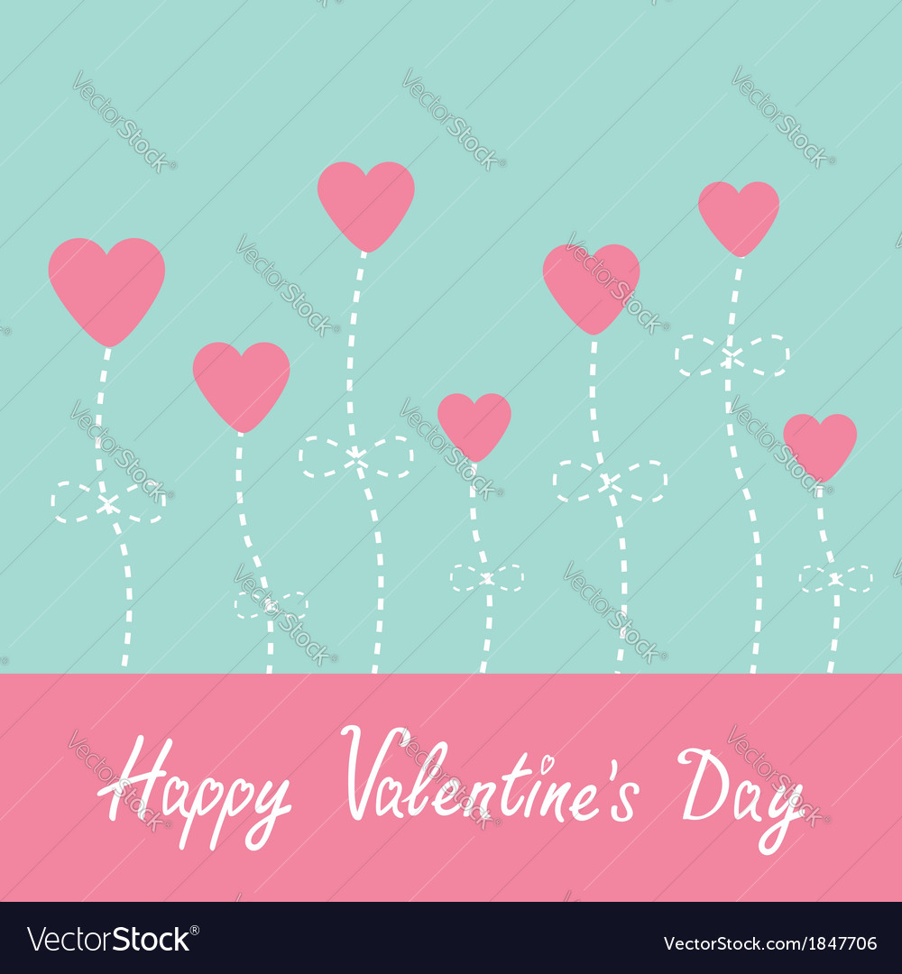 Heart flowers blue and pink valentines day vector | Price: 1 Credit (USD $1)