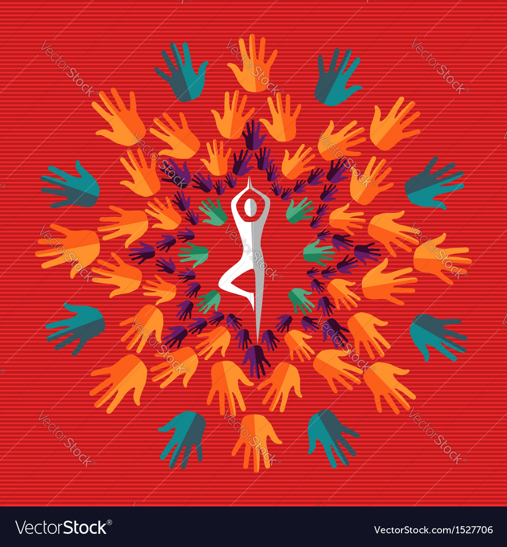 India human hand yoga mandala vector | Price: 1 Credit (USD $1)