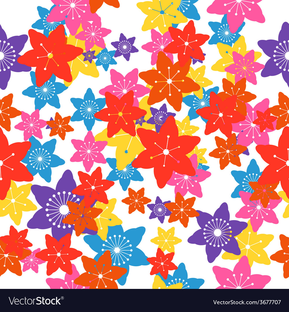 Abstract colorful flowers seamless pattern vector | Price: 1 Credit (USD $1)