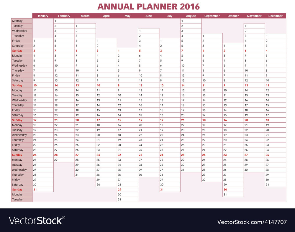 Annual planner english 2016 vector | Price: 1 Credit (USD $1)