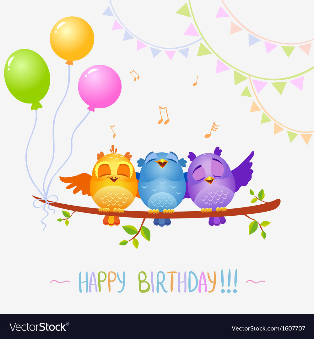 Birds sing birthday vector | Price: 1 Credit (USD $1)