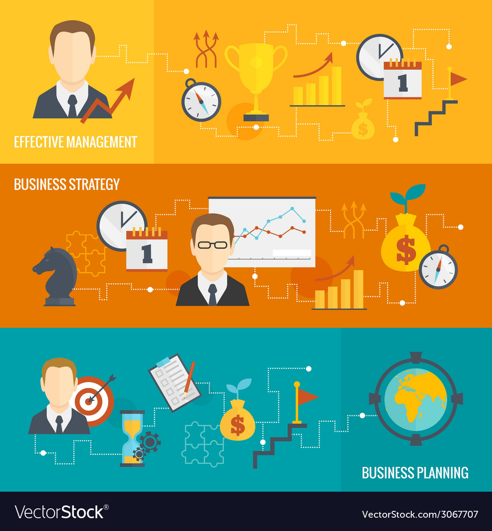 Business strategy planning banner set vector | Price: 1 Credit (USD $1)