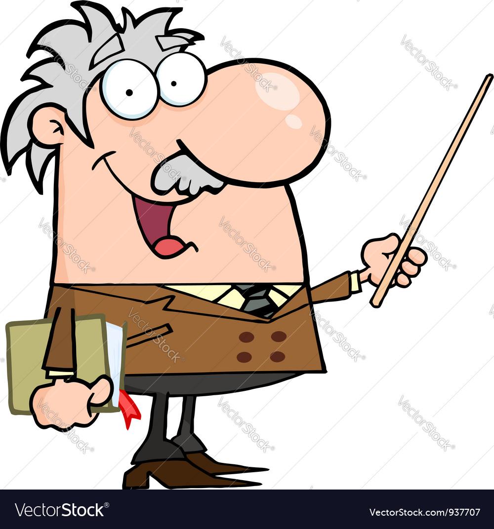 Caucasian professor using a pointer stick vector | Price: 1 Credit (USD $1)
