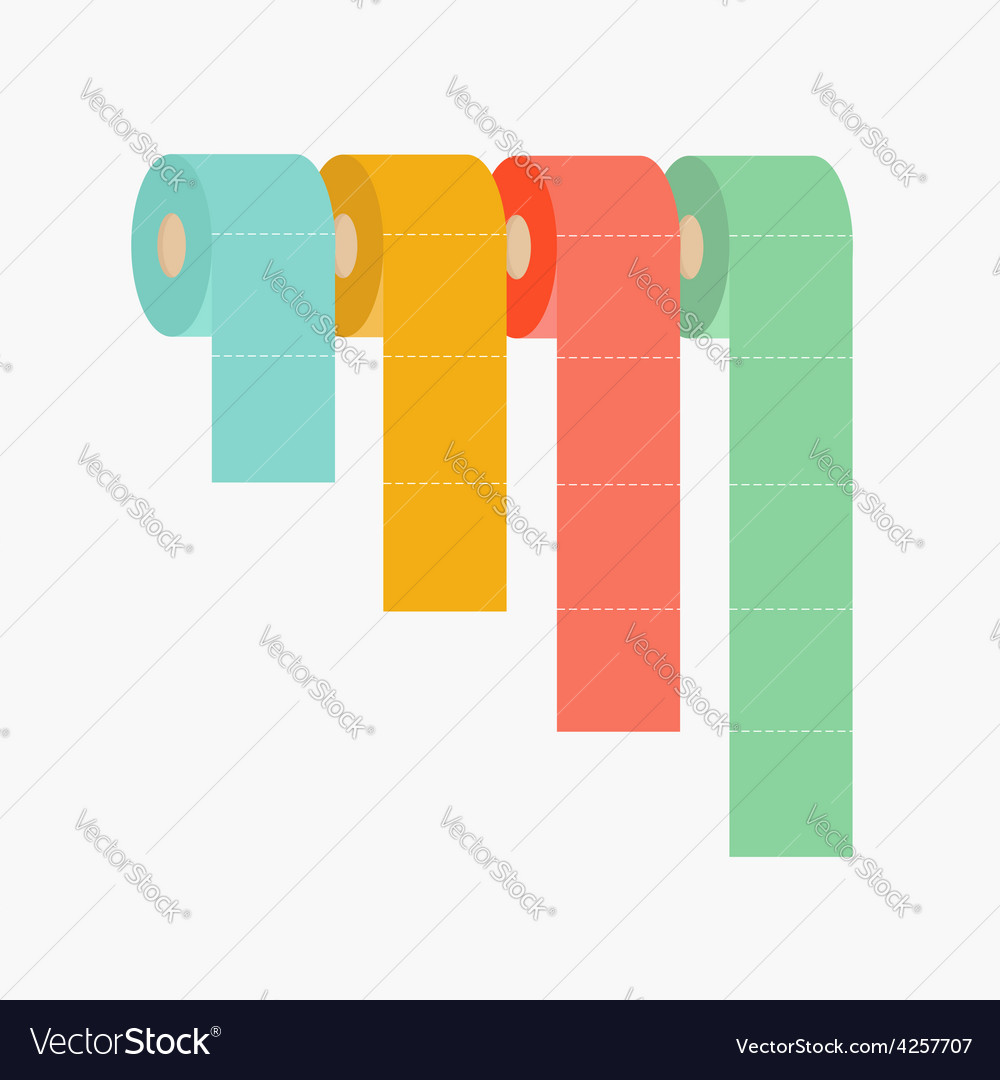 Four column toilet paper roll set chart diagram vector | Price: 1 Credit (USD $1)