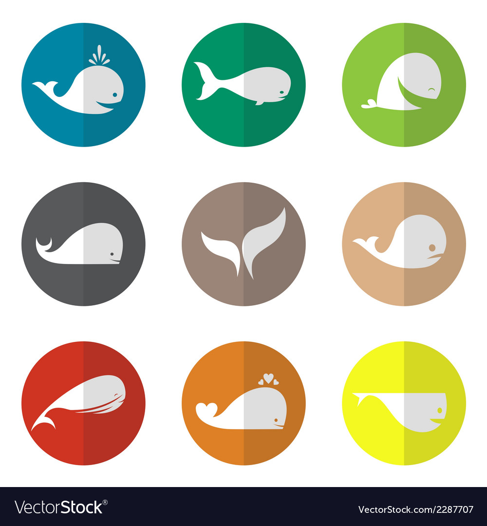 Group of whale in the circle vector | Price: 1 Credit (USD $1)