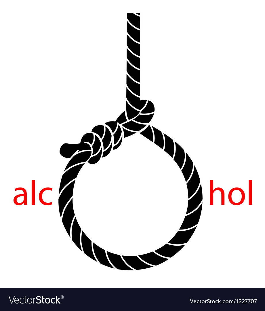 Hangmans noose with protest against alcohol vector | Price: 1 Credit (USD $1)