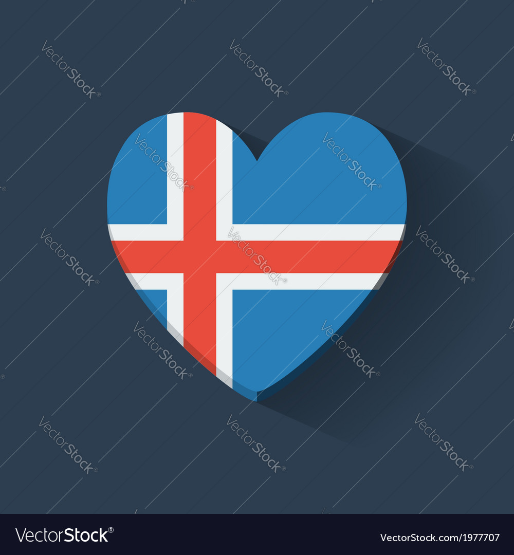 Heart-shaped icon with flag of iceland vector   Price: 1 Credit (USD $1)