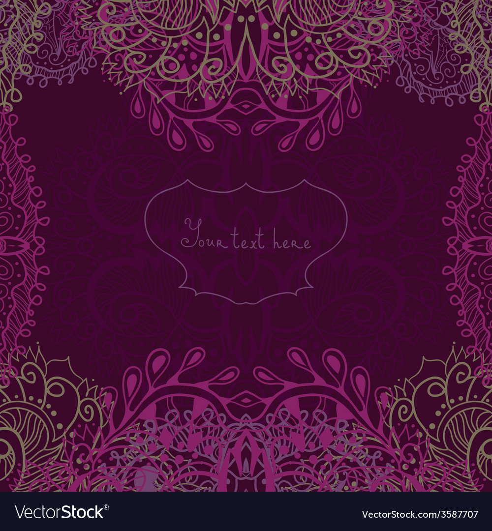 Invitation card with lace ornament greeting card vector | Price: 1 Credit (USD $1)