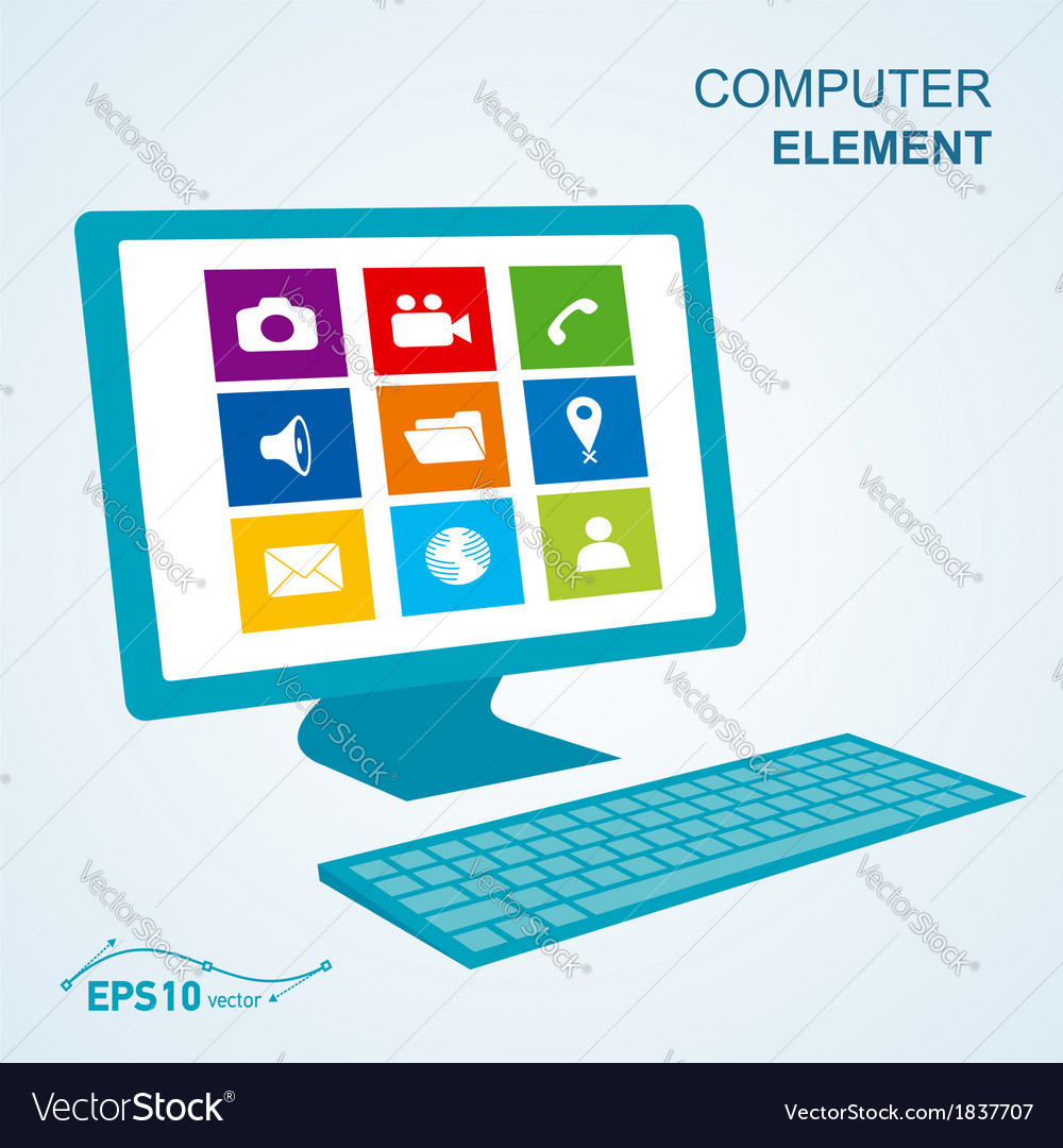 Keyboard computer display no effect vector | Price: 1 Credit (USD $1)
