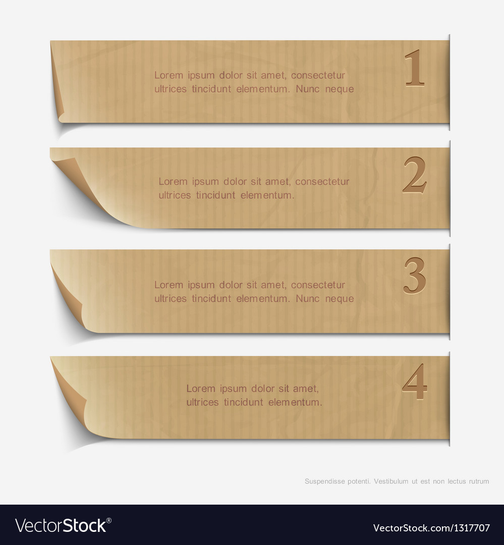Old paper numbered banners vector | Price: 1 Credit (USD $1)