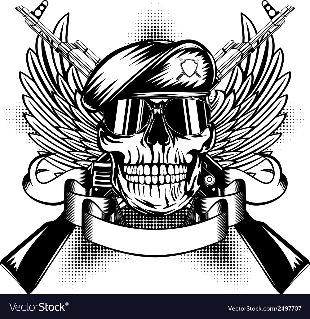 Skull in beret and two kalashnikov guns vector | Price: 1 Credit (USD $1)
