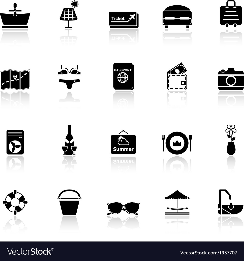 Summer icons with reflect on white background vector | Price: 1 Credit (USD $1)