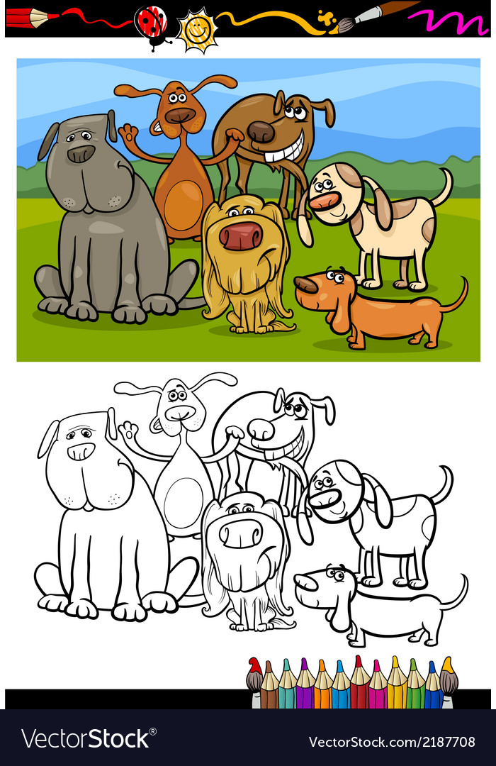 Dogs group cartoon coloring book vector | Price: 1 Credit (USD $1)