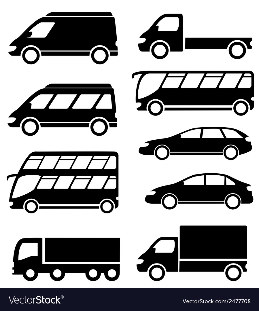 Set transport icon on white background vector | Price: 1 Credit (USD $1)
