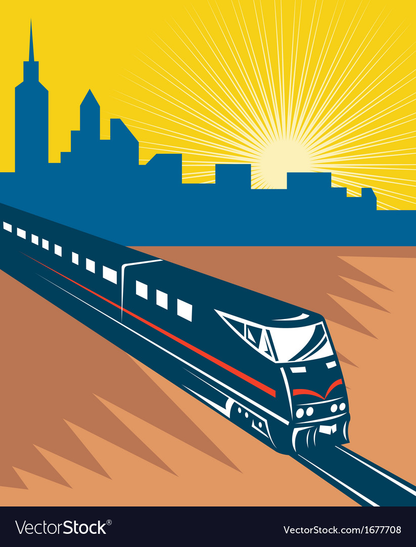 Speeding passenger train city skyline vector | Price: 1 Credit (USD $1)