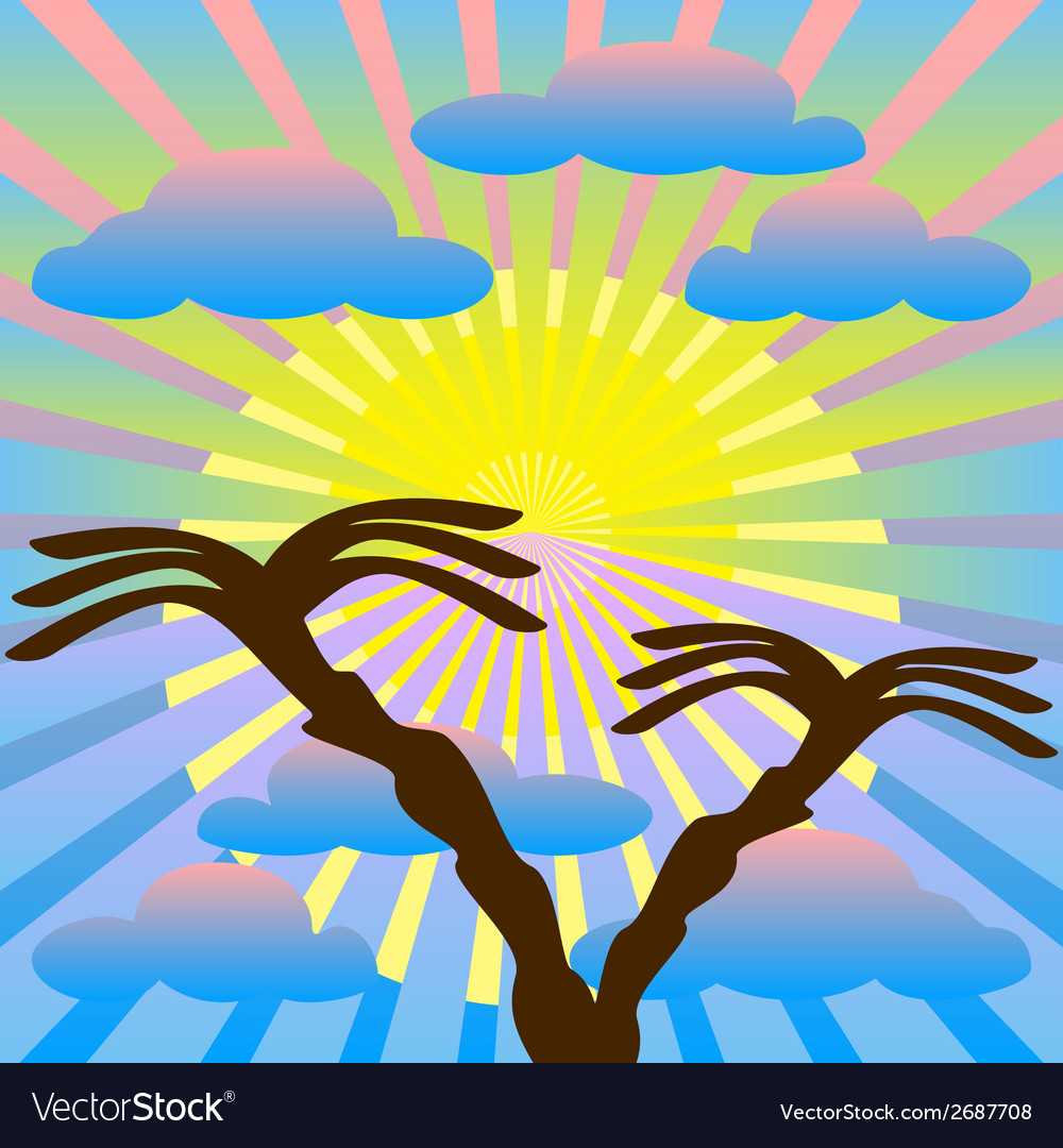 Two palm trees against the sky sun sun rays vector | Price: 1 Credit (USD $1)