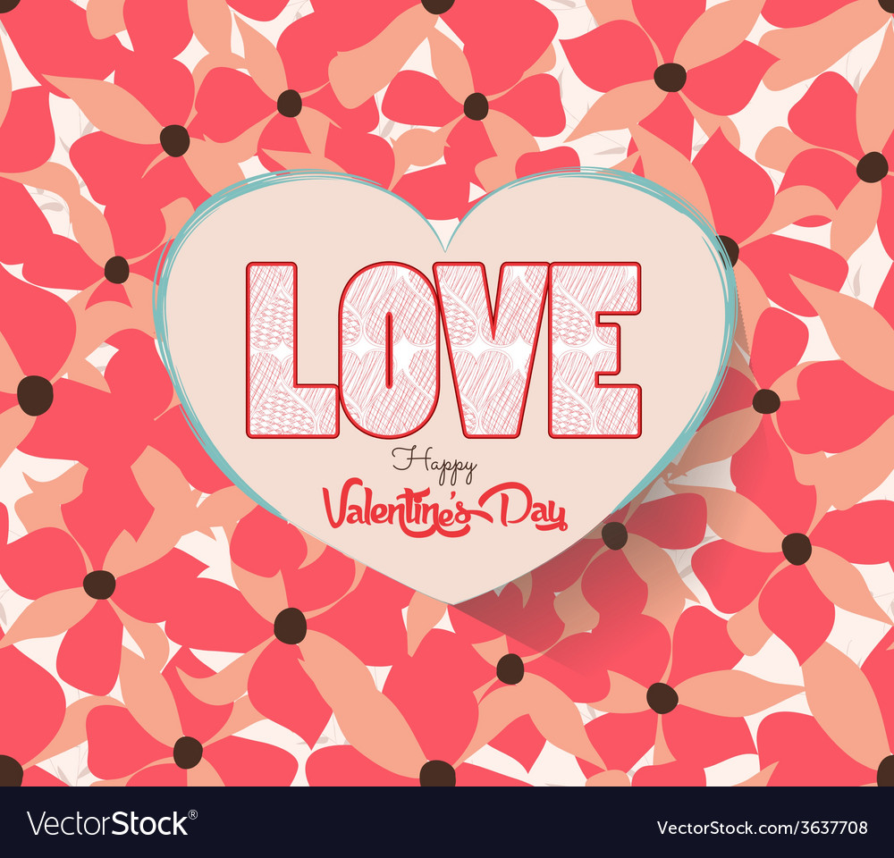Valentines day with heart and flower background vector | Price: 1 Credit (USD $1)