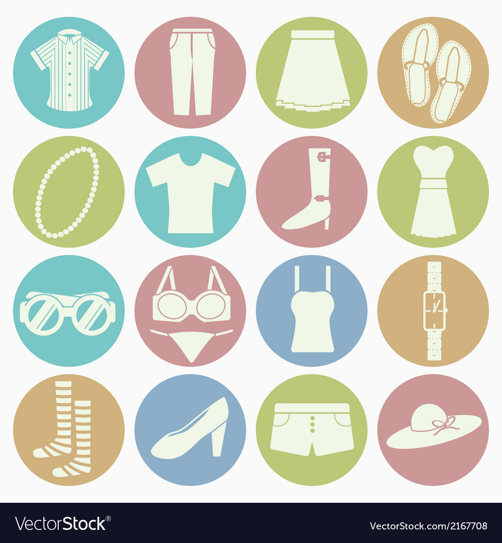 White icons lady clothes vector | Price: 1 Credit (USD $1)