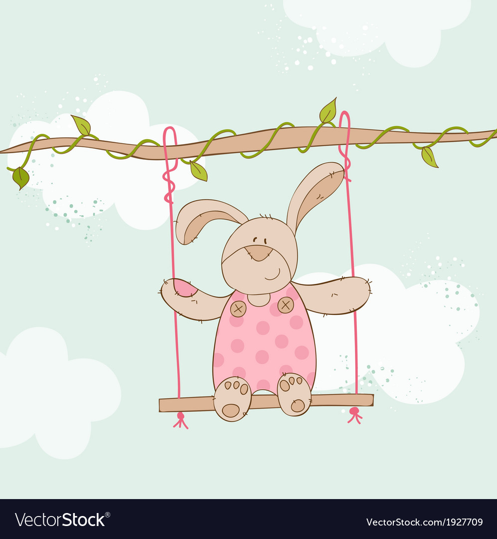 Baby shower card - with baby bunny vector | Price: 1 Credit (USD $1)