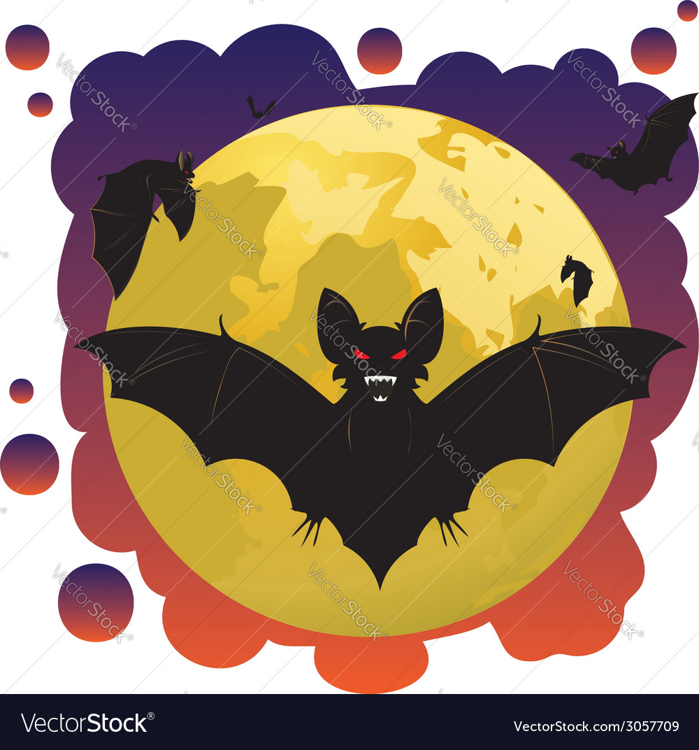 Bats and moon2 vector | Price: 1 Credit (USD $1)