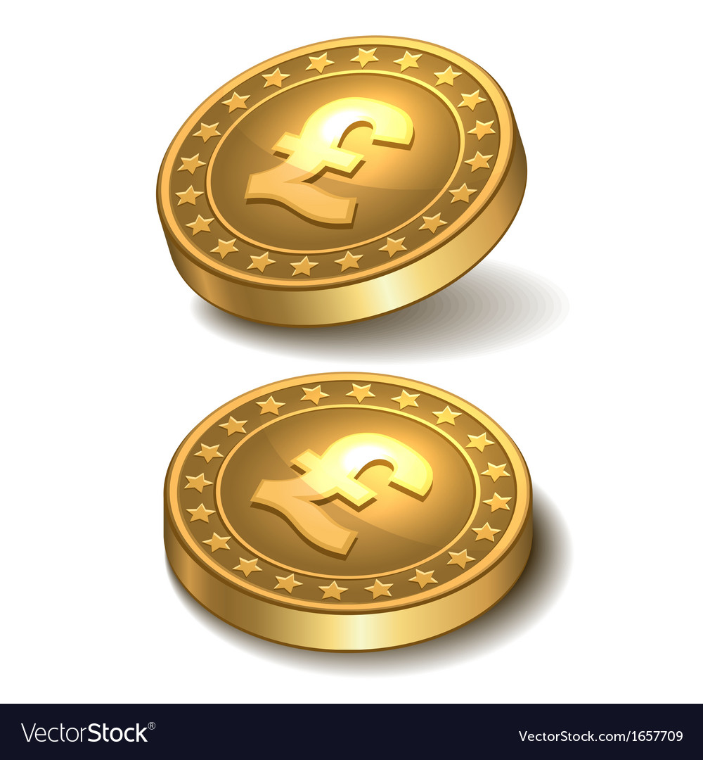 Gold coin with pound sterling sign vector   Price: 1 Credit (USD $1)