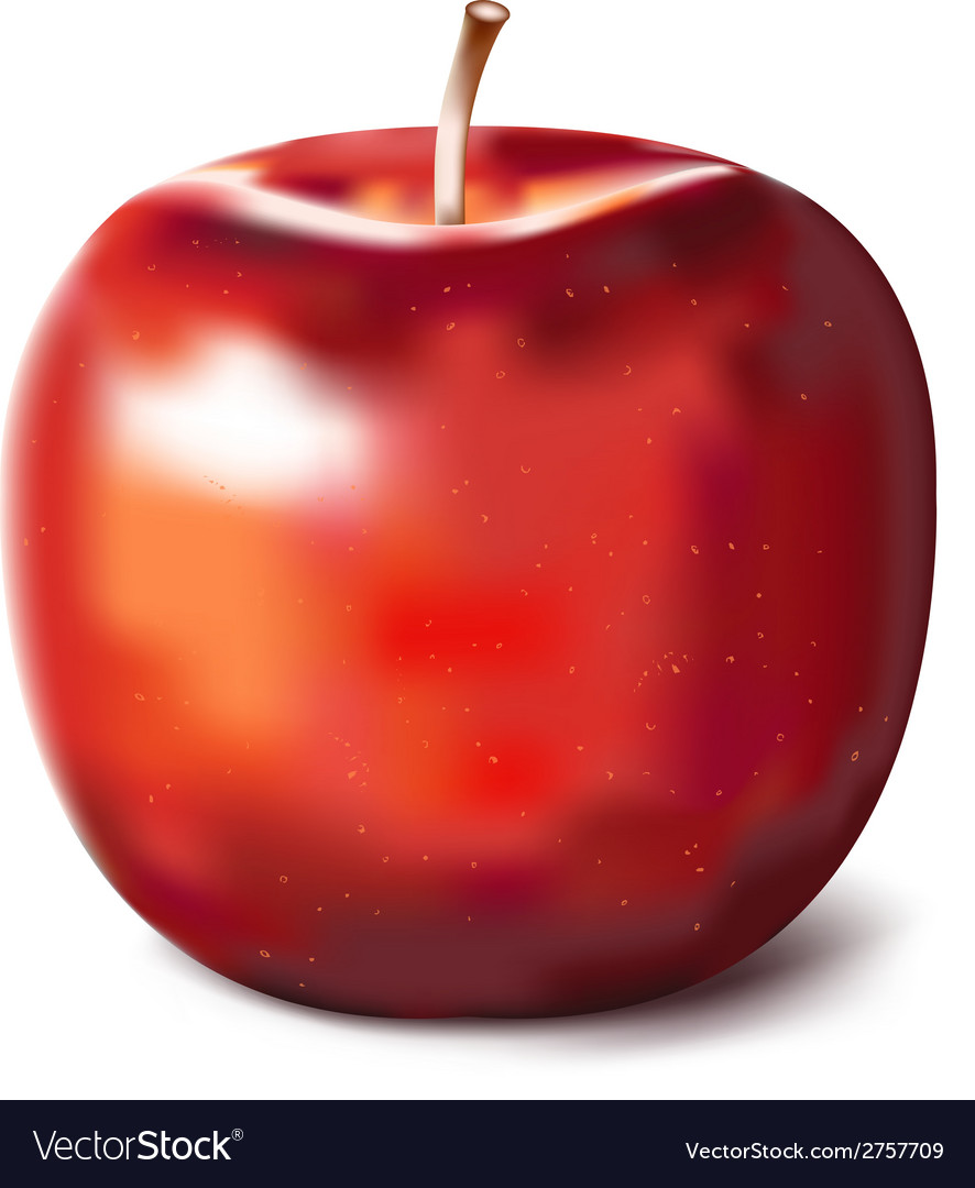 Hand painted red apple vector | Price: 1 Credit (USD $1)