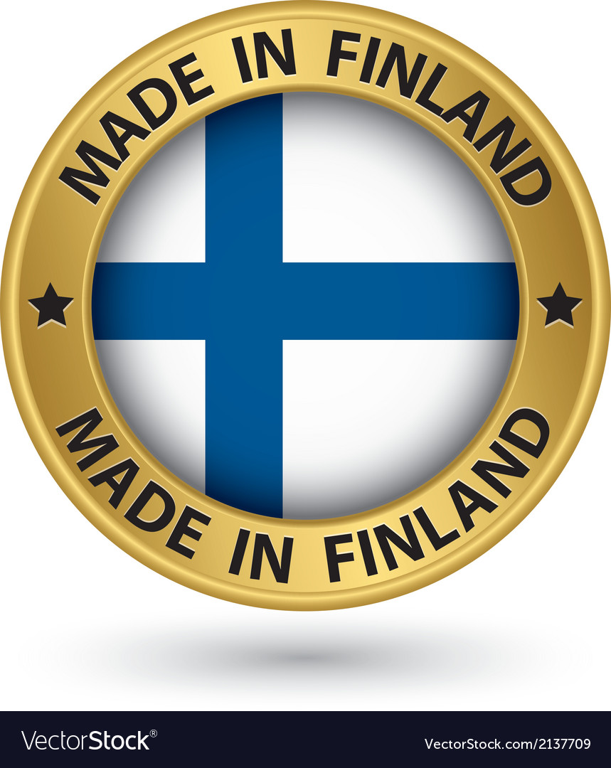 Made in finland gold label with flag vector | Price: 1 Credit (USD $1)