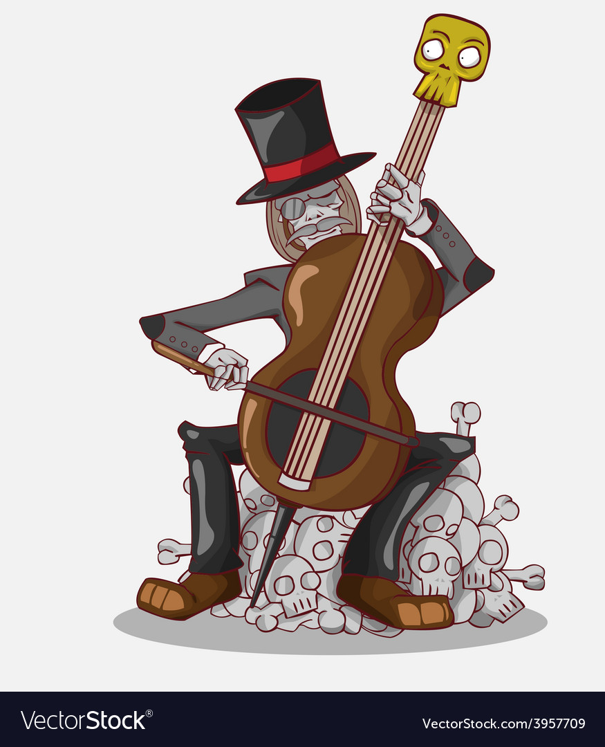 Monster in halloween night skeleton play cello vector | Price: 3 Credit (USD $3)