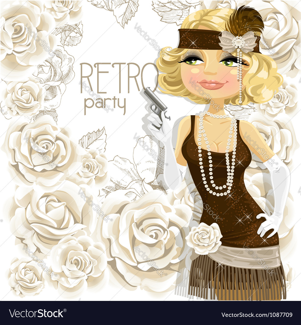 Retro glamour gangster girl vector | Price: 3 Credit (USD $3)