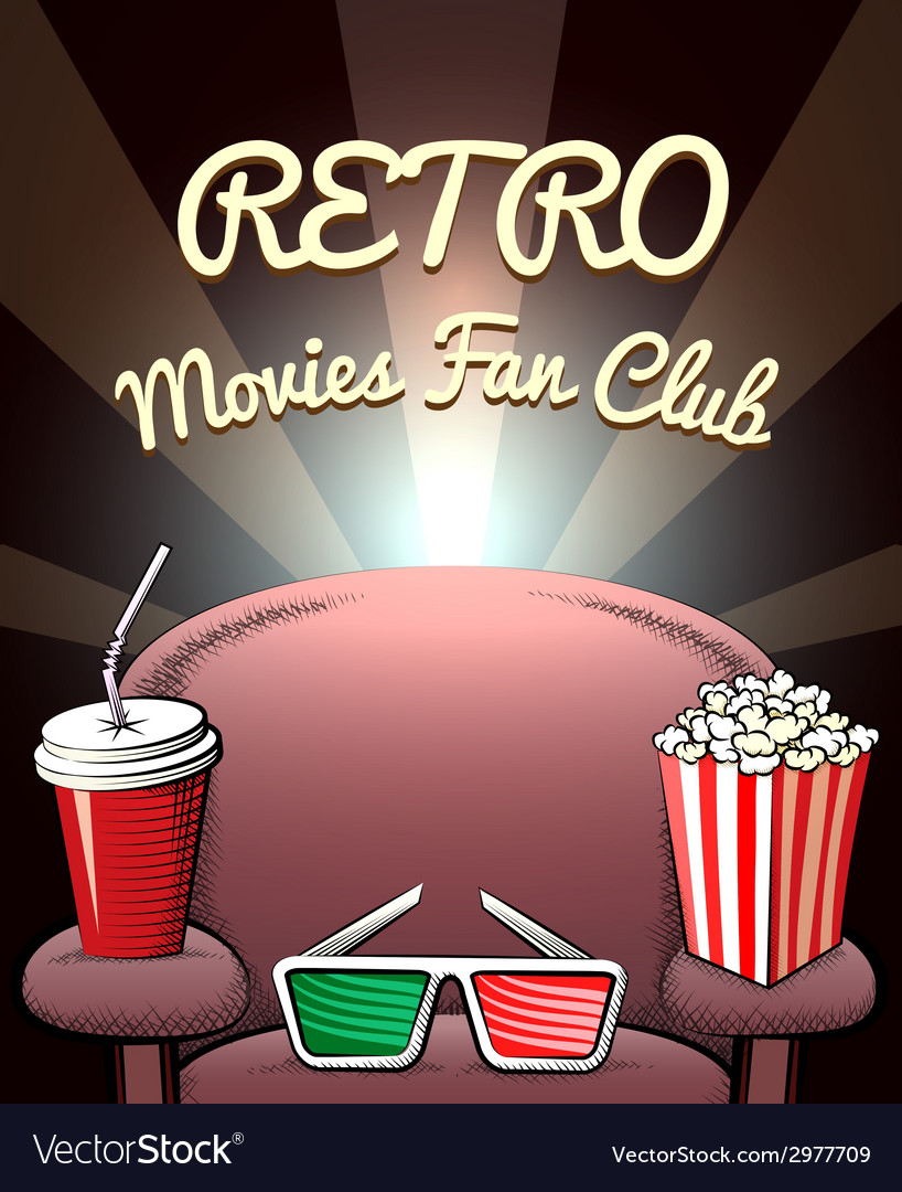Retro movies fan club poster vector | Price: 1 Credit (USD $1)