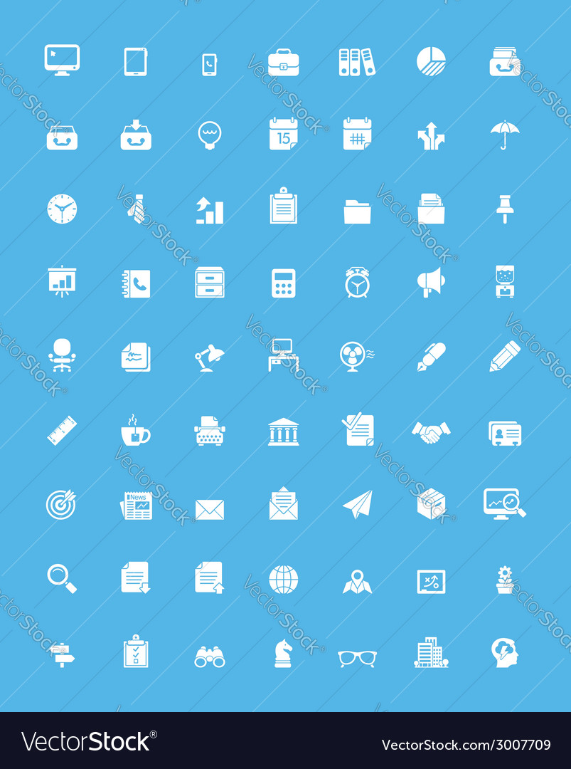 Simple business and office icon set vector | Price: 1 Credit (USD $1)