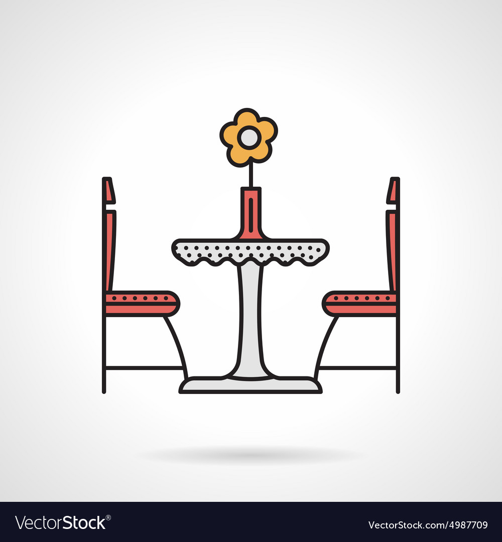 Table for two flat color icon vector