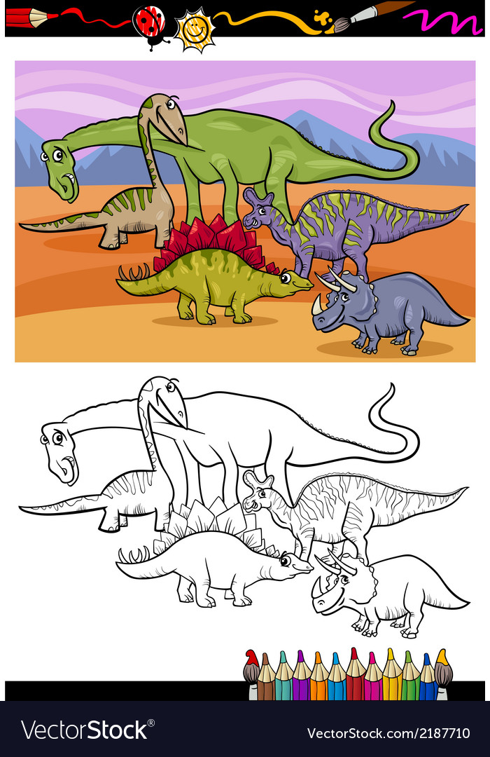 Dinosaurs group cartoon coloring book vector | Price: 1 Credit (USD $1)