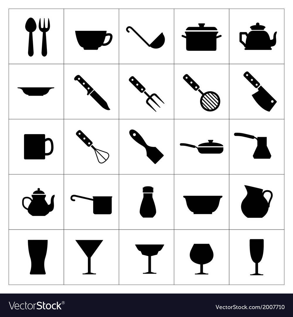 Dishware icons vector | Price: 1 Credit (USD $1)