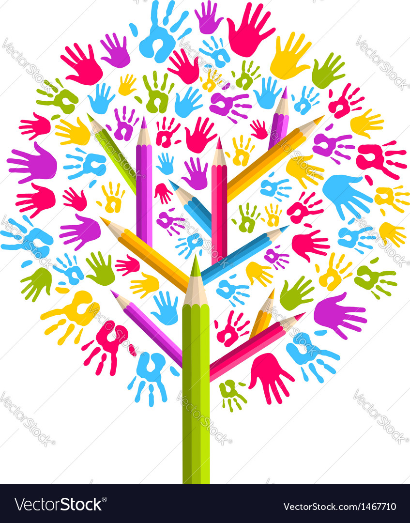 Diversity education tree hands vector | Price: 1 Credit (USD $1)