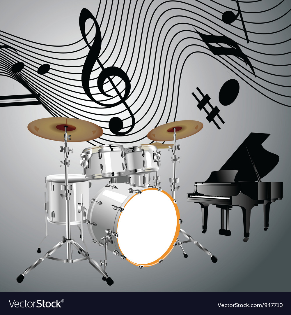 Drum set and piano vector | Price: 1 Credit (USD $1)