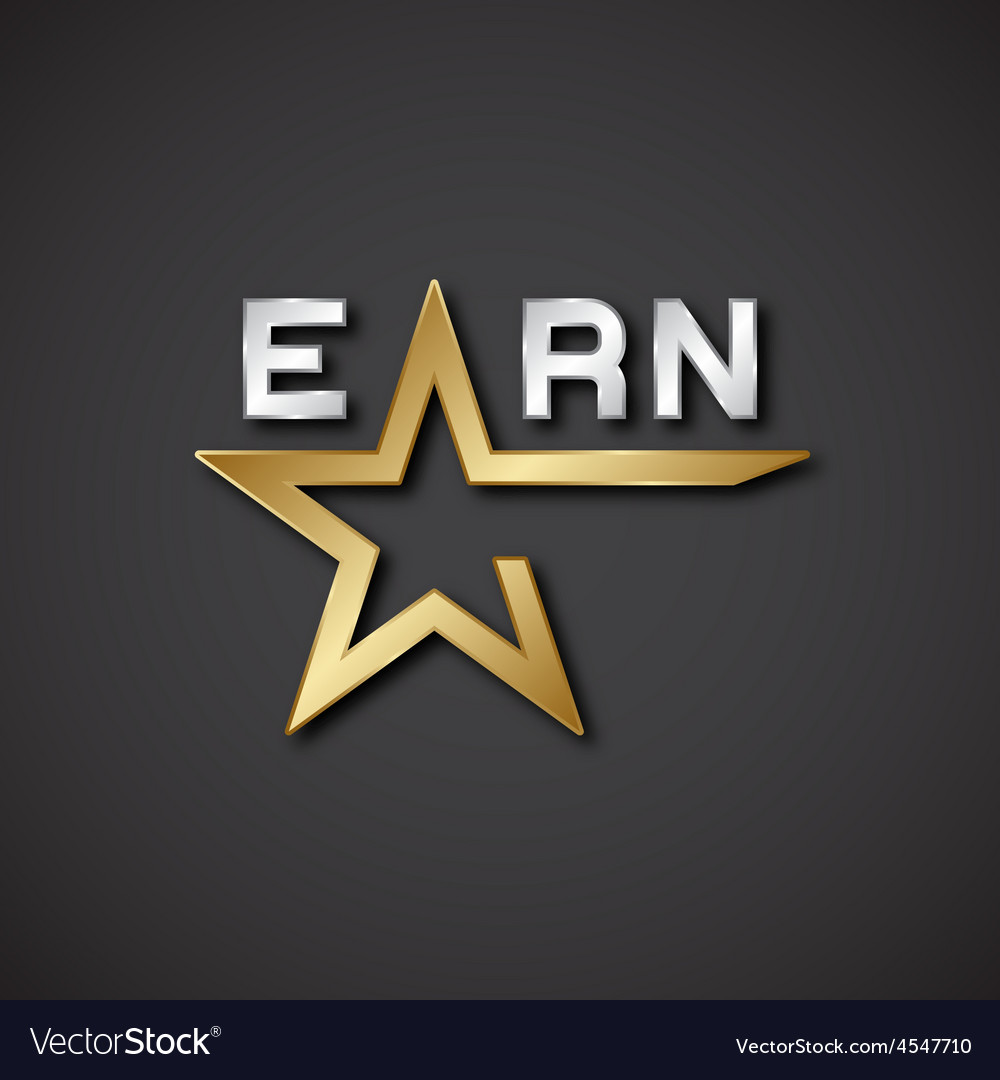 Eps10 earn golden star inscription icon vector | Price: 1 Credit (USD $1)