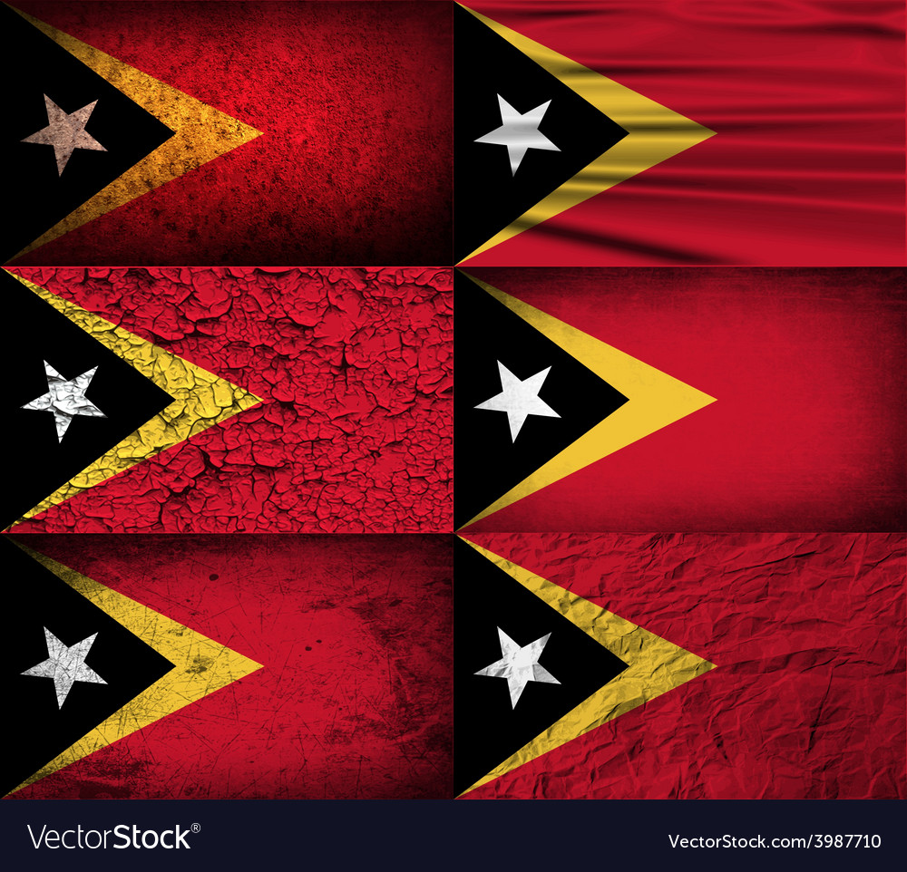 Flag of east timor with old texture vector | Price: 1 Credit (USD $1)