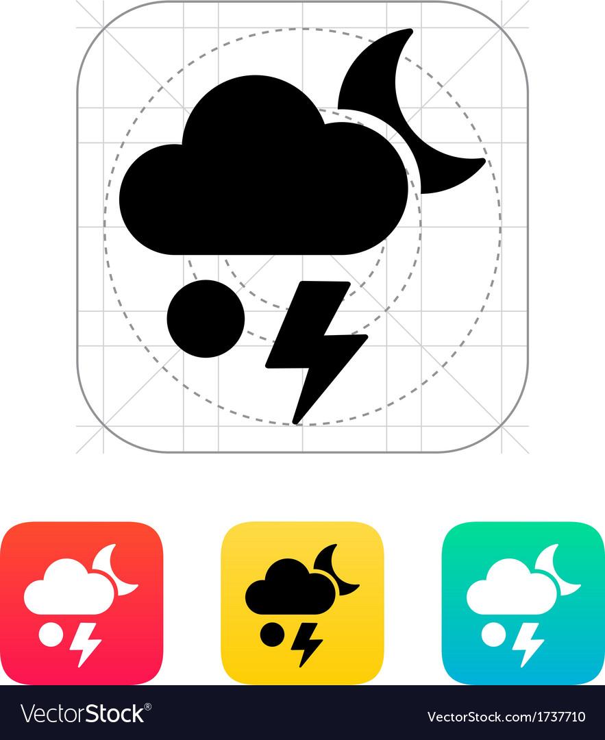 Hail at night weather icon vector | Price: 1 Credit (USD $1)